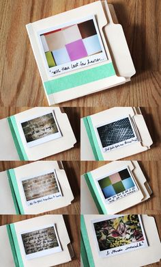Make your own little book! This person made a book with song lyrics that she loved, but it would also work for making a book for your child with Polaroids of family and places they love so they can look at it.