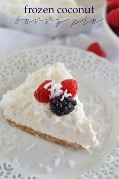 From a flaked coconut-studded graham cracker crust to a creamy coconut filling, this Frozen Coconut Berry Pie is the ultimate in simple summer desserts!