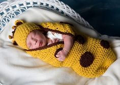 Giraffe Baby Cocoon and Hat Set by Sandy Powers