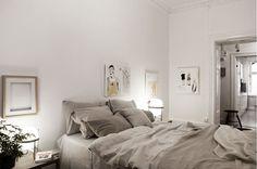 Bedroom. Linen bedding. & Illustrations.