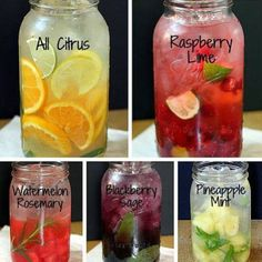 Fruit Infused Water:    Fruit- Whatever kind you like (except bananas), make sure its good and ripe for maximum sweetness and flavor.   Directions: mash fruit and herbs with wooden spoon, add ice then water. Let it sit for at least an hour.  Source: @myhealthydish_ on instagram