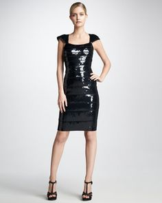 Sequined Bandage Dress by Herve Leger at Neiman Marcus.