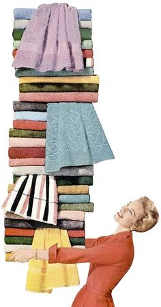 I've had laundry days like this, too! :) #vintage #towels #laundry #1950s #homemaker #housewife