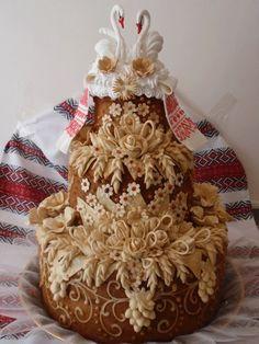 В Україні коровай готують на весілля   Kоровай готуютьтільки заміжні жінки  . Прикрашають візерунками з тіста і  калинoю, якій приписують містичні властивості кохання.Коровай є символом щастя і достатку Його виносять на вишитомурушнику Чим пишніший  коровай, тим щасливіше і багатше життя чекає молодят . Коровай випікали багатошаровим, і ділив його хресний батько  нареченої. Верхівку віддавали молодим,середню частину-гостям,а низ,в який часто запікають монети- музикантам. from Iryna