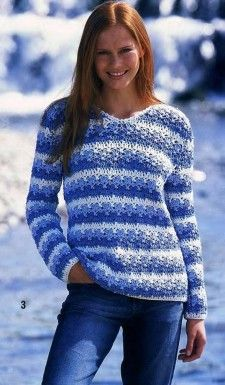 Blue and white pullover