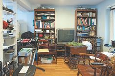 A cluttered and crazy media room gets a calming refresh thanks to Lara Spencer, in her new book, Flea Market Fabulous