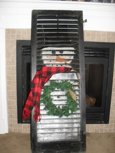 old shutters, snowman, christma craft