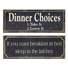 I pinned this 2 Piece Breakfast and Dinner Sign Set from the Style Study: The Country Kitchen event at Joss and Main!