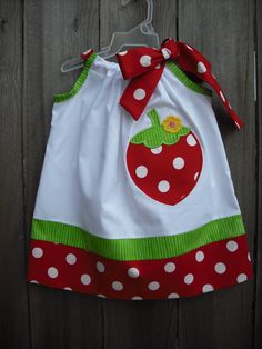 Jules B'day party dress??  --  Strawberry Pillowcase Dress by AllissonsCreations on Etsy, $25.70