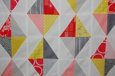 From the Modern Quilt Guild site. I love this alternating diamond effect. I could use the yellows, oranges and Philip Jacobs print I bought recently  http://themodernquiltguild.wordpress.com/tutorials-from-the-modern-quilt-guild/