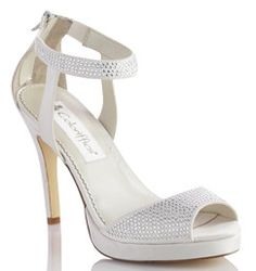 Add these rhinestone encrusted platform sandals to finish your #bridal or special occasion look! David's Bridal #Shoe Style CAMRYN.