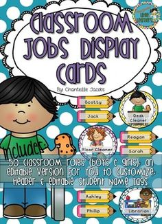 Classroom Jobs Display Cards - Classroom Roles and Student Labels - includes editables.