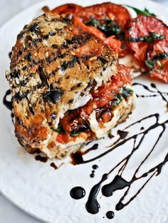 Roasted Tomato Caprese Grilled Cheese with Balsamic Glaze.