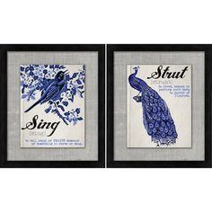 Two-piece framed and ready-to-hang wall art set with a bird motif.   Product: 2 Piece framed print set  $61.00