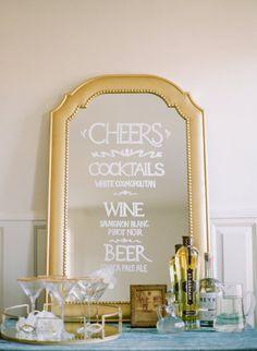 DIY mirrored cocktail menu