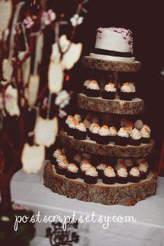 Rustic Wood Tree Slice 4-tier cupcake stand