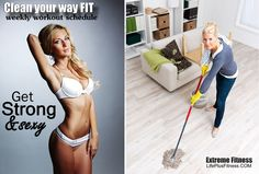 A workout plan for cleaning your house that will get your upper, lower body, and abdominals all in one week.