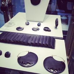carved Whitby Jet. 18k and diamond earrings are my new favorite find by Jacqueline Cullen http://www.jacquelinecullen.com