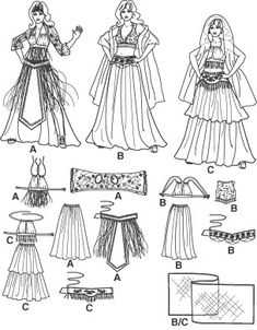 Diy Sewing Pattern-Simplicity 2941-Belly Dance Costume-Circle Skirt pattern-Belly Dance Belt Pattern. $6.00, via Etsy.