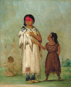 Native American George Catlin Assiniboin Woman and Child by griffinlb, via Flickr