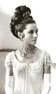 Audrey Hepburn in My Fair Lady. So elegant...that diamond necklace..gorgeous!