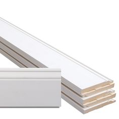 6-Piece 0.5625-in x 5.25-in x 12-ft Interior Primed MDF Base Moulding Contractor Pack (Pattern L163E)
