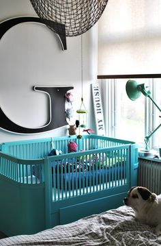 Cute nursery with turquoise crib and giant letter g via In My House Blogg & Butik