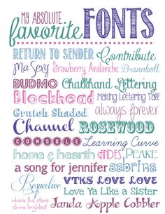 25 Free Fonts ~    Not the plain old serif and sans serif stuff, but the funky and fabulous…!     Downloads @:  http://howtonestforless.com/2013/02/13/my-favorite-fonts/
