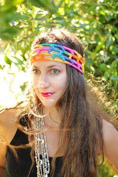 Rainbow Crochet Hippie Headband by mademoisellemermaid on Etsy, $15.00
