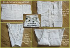 """The """"Custom Fold"""" for flat diapers - perfect for when you're using pins, Snappis or Boingos #clothdiapers"""