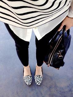 stripes + black + leopard white shirts, outfit, mixed prints, black white, animal prints, shoe, leopard prints, stripe, mixing prints