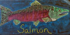 Waldorf ~ 4th grade ~ Human & Animal ~ Salmon ~ chalkboard drawing