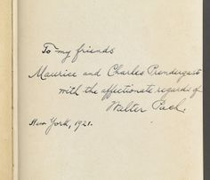 "Note from Walter Pach to Maurice and Charles Prendergast found inside ""History of Art: Ancient Art""  Elie Faure, New York and London: Harper & Brothers Publishers, 1921 from the Prendergast Personal Library. Walter Pach  (1883-1958) was an artist, critic, and lecturer who wrote about and championed the cause of modern art. He was also a close personal friend of Maurice and Charles Prendergast."