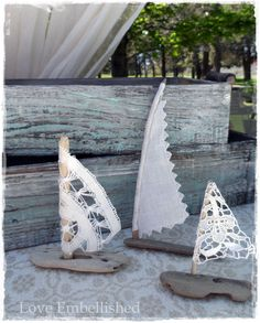 3 Driftwood Beach Decor Sail Boat Set of 3 Boats with Linen Antique Lace Sails Coastal Beach House Cottage Beach Seaside Wedding Decoration