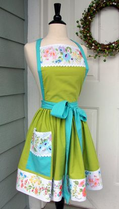 UpCycled Women's Apron  Spring Green with Floral by DrapesofWrath