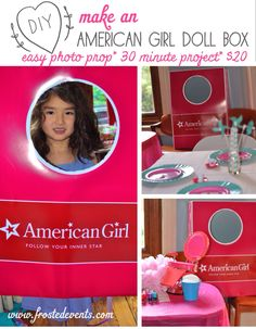 DIY- How to Make American Girl Doll Box Photo Prop from @frostedevents Free printable design  #girlsparty #girlsbirthday #girlspartyideas #americangirl #americangirlparty #kidspartyideas #kidsthemeparty