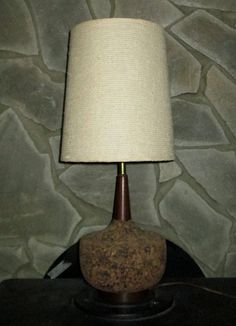 Retro cork Lamp with lampshade vintage all original by UpReNew