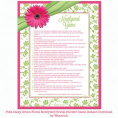 """Pink gerbera daisy and chartreuse green and white floral and ribbon """"Newlywed Game"""" bridal shower game instant downloadable by wasootch, $5.00  #bridalshower #weddingshower #weddings"""