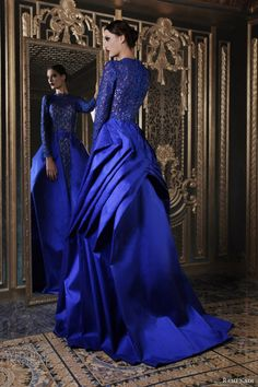 rami kadi 2013 couture bright blue shantung guipure long sleeve dress