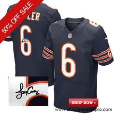 $129.99 Men's Nike Chicago Bears #6 Jay Cutler Elite Team Color Blue NFL Alternate Autographed Jersey