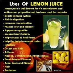 Uses of Lemon Juice in Health! Repinned by Aline