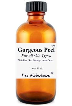 TCA PEEL, Gorgeous Peel, TCA Chemical Peel for home use treats lines, sun damage and scaring. No downtime. 2 oz $69  This is I'm Fabulous Cosmetics bestseller and most recommended chemical peel.    Incredible New Technology Facial Peel  The strength of this peel is between 10 and 19%, pH 2.0  This fabulous TCA chemical peel, it is safe for all skin type and will give you amazing results!  - No need to get off of work.  - No downtime at all!  - Apply makeup after the peel