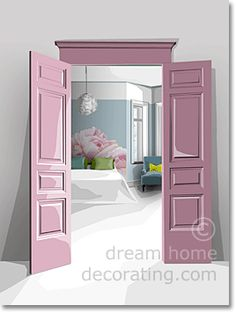 Romantic, 'sweet pea' bedroom color scheme with a painted-by-numbers headboard. (Alternative: cut out beautiful wallpaper & decoupage it to the wall. A single roll of expensive stuff can take a whole bedroom from blah to wow!)