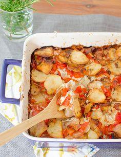Cheesy Potato  Tomato Casserole   Cheesy Potato  Tomato Casserole adapted from The Complete Italian Vegetarian Cookbook