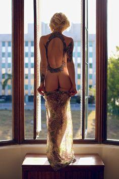 Alysha in the window.