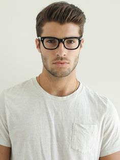 Simple White Tee + Glasses -- I like the haircut for Grayden