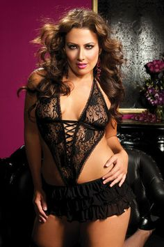 Plus Size Lace Halter Apron at Lace Your Curves