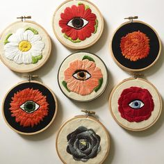 "Flowers and flowers with eyes | Spring embroidery collection | 4"" Original Embroidery Hoop Art 