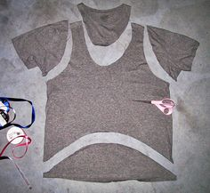 T-shirt-DIY-jersey-tank-vest- diy crop tank, fashion, clever idea