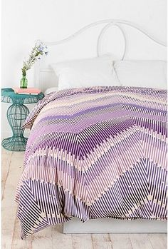 Purple Striped Chevron Duvet Cover - love it!